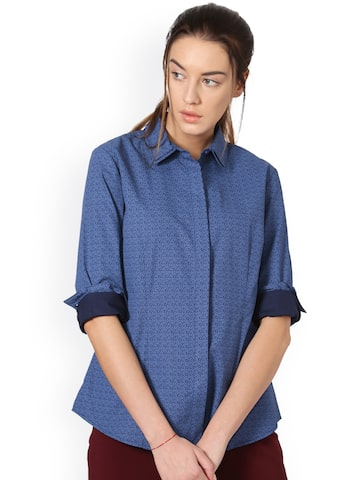 Allen Solly Woman Women Blue Regular Fit Printed Casual Shirt Allen Solly Woman Shirts at myntra