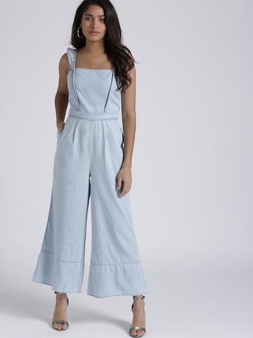 Chemistry Blue Solid Chambray Basic Jumpsuit Chemistry Jumpsuit at myntra