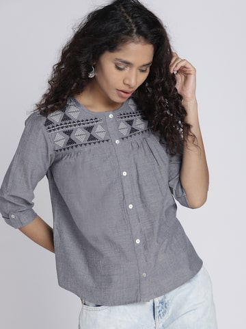 Chemistry Women Grey Solid A-Line Top Chemistry Tops at myntra