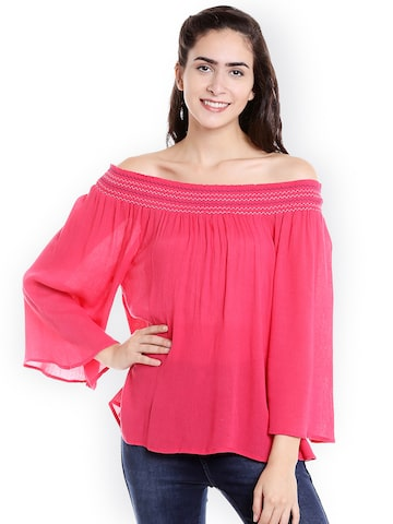 Fusion Beats Women Pink Solid Bardot Top Fusion Beats Tops at myntra