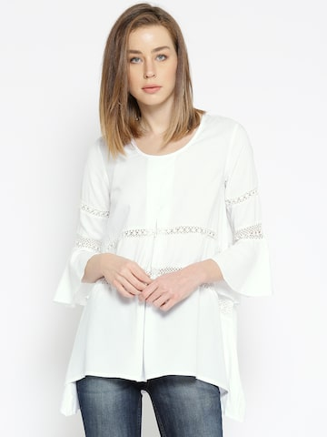 Noi White Solid Tunic with Lace Detail Noi Tunics at myntra