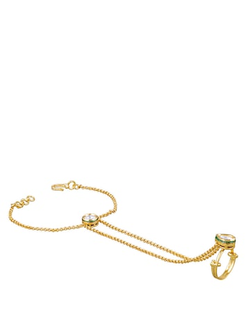 Sia Art Jewellery Gold-Toned & Off-white Ring Bracelet Sia Art Jewellery Bracelet at myntra