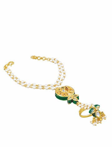 Sia Art Jewellery Gold-Toned & Green Ring Bracelet Sia Art Jewellery Bracelet at myntra