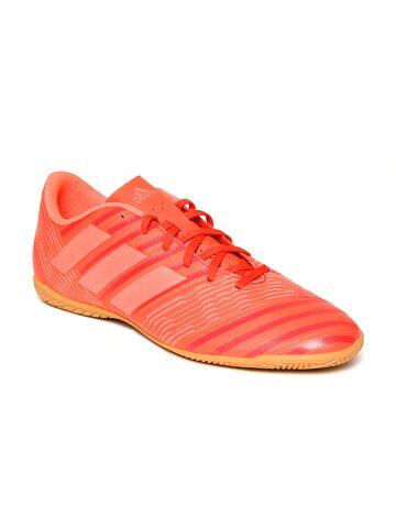 Adidas Men Coral Orange NEMEZIZ Tango 17.4 IN Striped Football Shoes Adidas Sports Shoes at myntra