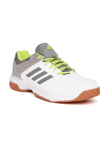 Adidas Men White & Grey Quick Force IND Badminton Shoes Adidas Sports Shoes at myntra