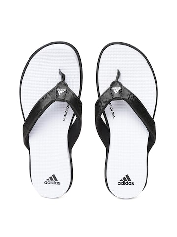 Adidas Women Black & White CLOUDFOAM Self Design Thong Flip-Flops Adidas Flip Flops at myntra