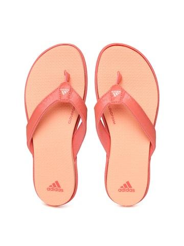 Adidas Women Orange CLOUDFOAM Self Design Thong Flip-Flops Adidas Flip Flops at myntra