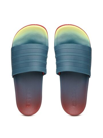 Adidas Women Teal Blue & Red ADILETTE CF+ FADE Dyed Sliders Adidas Flip Flops at myntra