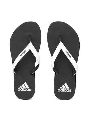 Adidas Women White & Black PUKA Thong Flip-Flops Adidas Flip Flops at myntra
