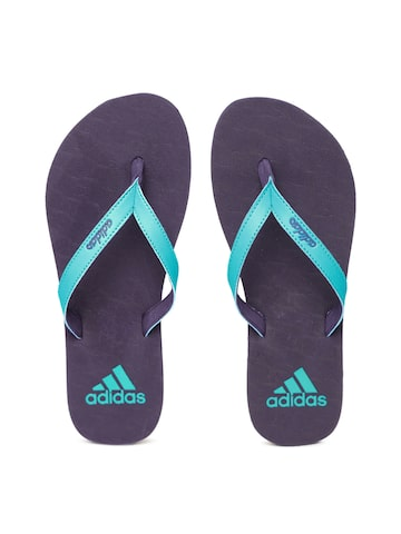 Adidas Women Blue & Purple PUKA Textured Thong Flip-Flops Adidas Flip Flops at myntra