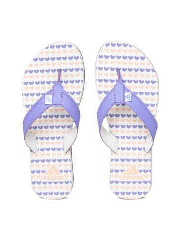 Adidas Women Lavender & Off-White CLAD Printed Thong Flip-Flops Adidas Flip Flops at myntra