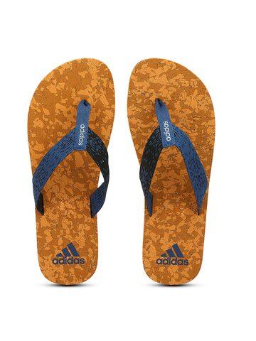 Adidas Men Blue & Black Beach Cork Self-Design Thong Flip-Flops Adidas Flip Flops at myntra