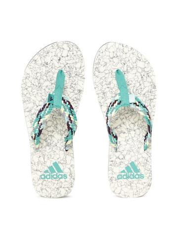 Adidas Women Green & Off-White BEACH CORK Self Design Thong Flip-Flops Adidas Flip Flops at myntra