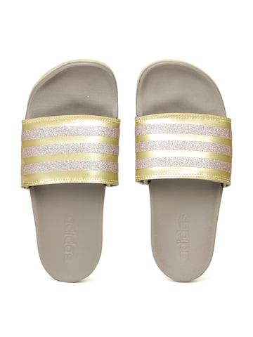 Adidas Women Gold-Toned & Grey ADILETTE COMFORT Striped Sliders Adidas Flip Flops at myntra