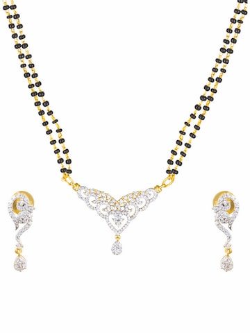 Sia Art Jewellery Gold-Toned & Black Beaded Dual-Stranded Mangalsutra & Earrings Set Sia Art Jewellery Jewellery Set at myntra