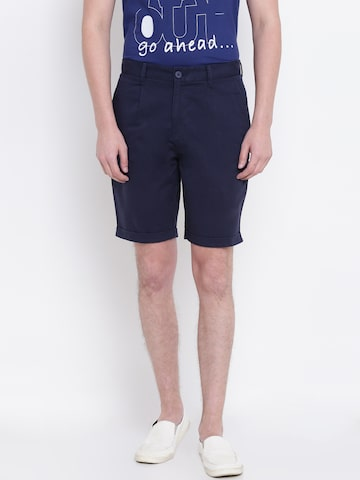 United Colors of Benetton Men Navy Solid Comfort Fit Shorts United Colors of Benetton Shorts at myntra