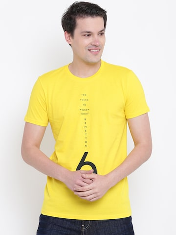 United Colors of Benetton Men Yellow Printed Round Neck T-shirt United Colors of Benetton Tshirts at myntra