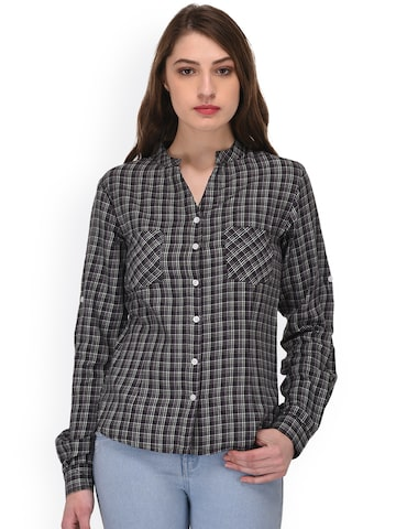 PURYS Women Grey Regular Fit Checked Casual Shirt PURYS Shirts at myntra