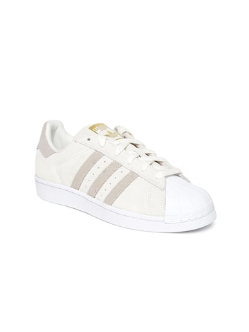 Adidas Originals Women Cream-Coloured Superstar Leather Sneakers Adidas Originals Casual Shoes at myntra