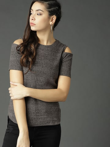 Roadster Women Charcoal Grey Self-Striped High-Low Top Roadster Tops at myntra