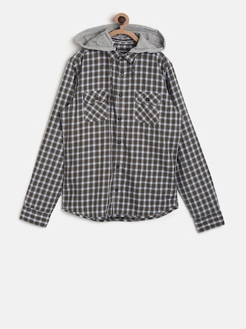 SCULLERS Boys Brown & Grey Regular Fit Checked Casual Shirt SCULLERS Shirts at myntra