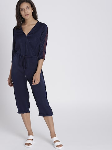 Chemistry Navy Blue Solid Basic Jumpsuit Chemistry Jumpsuit at myntra