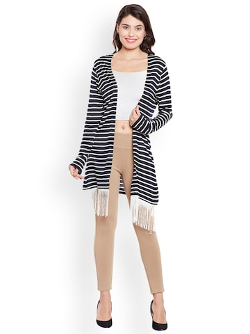 Martini Blue & White Striped Open Front Shrug Martini Shrug at myntra