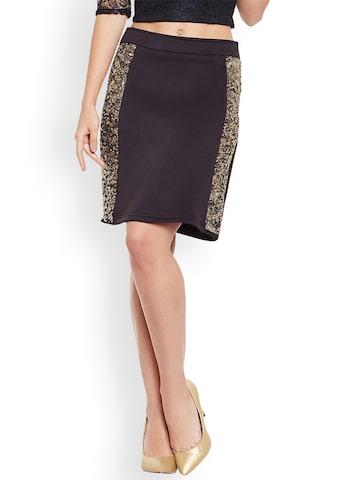 MARTINI Black & Gold-Toned Embellished Mini Slim Fit Straight Skirt Martini Skirts at myntra