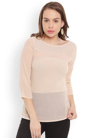 The Vanca Women Peach-Coloured Embellished Top The Vanca Tops at myntra