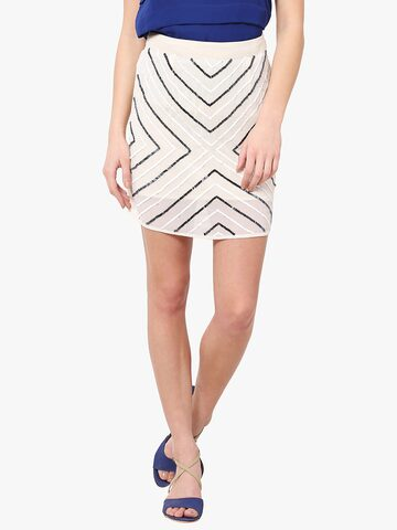 The Vanca Women Off-White Sequined Skirt The Vanca Skirts at myntra