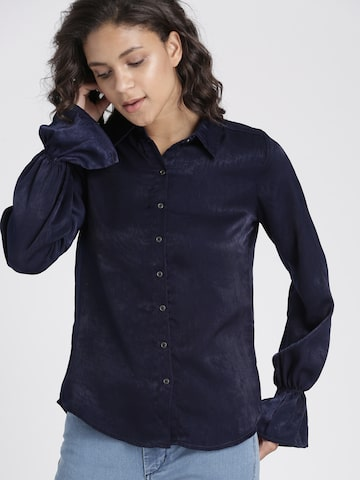 Chemistry Women Navy Blue Regular Fit Solid Casual Shirt Chemistry Shirts at myntra