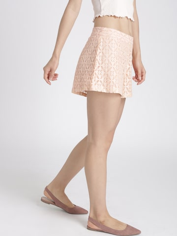 Chemistry Women Peach-Coloured Self-Design Shorts Chemistry Shorts at myntra