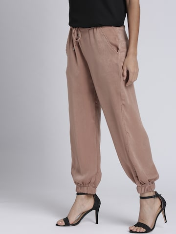 Chemistry Women Dusty Pink Solid Joggers Chemistry Trousers at myntra