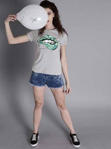 Kook N Keech Women Grey Melange Printed Holi T-shirt Kook N Keech Tshirts at myntra