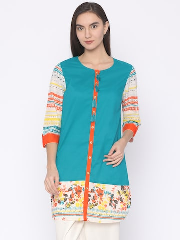 AKKRITI BY PANTALOONS Blue Printed Tunic AKKRITI BY PANTALOONS Tunics at myntra