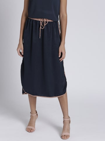 Chemistry Navy Blue Midi Straight Skirt Chemistry Skirts at myntra