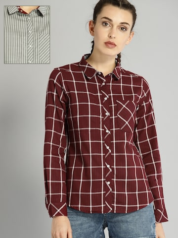 Roadster Women Maroon & White Reversible Checked Casual Shirt Roadster Shirts at myntra