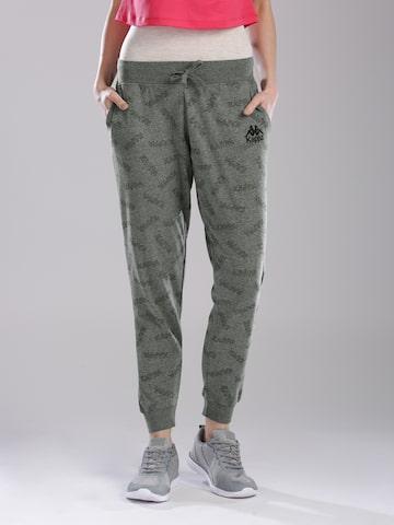 Kappa Women Grey Melange Printed Joggers Kappa Track Pants at myntra