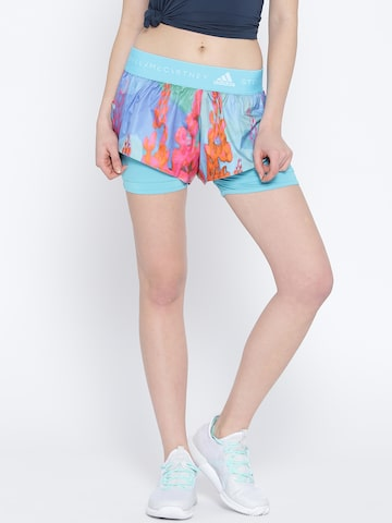 Stella McCartney by Adidas Women Blue 2-in-1 Printed Running Shorts Adidas Shorts at myntra