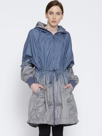 Stella McCartney by Adidas Blue & Grey Ombre Print Hooded Training Parka Jacket Adidas Jackets at myntra