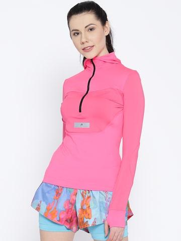 Stella McCartney by Adidas Pink Solid Hooded Running T-shirt Adidas Tshirts at myntra