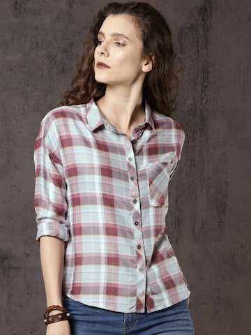 Roadster Women Pink & Off-White Regular Fit Checked Casual Shirt Roadster Shirts at myntra