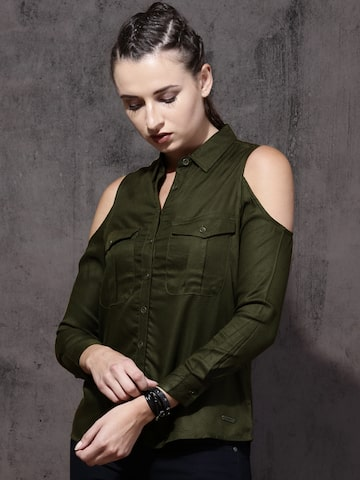 Roadster Women Olive Green Regular Fit Solid Casual Shirt Roadster Shirts at myntra