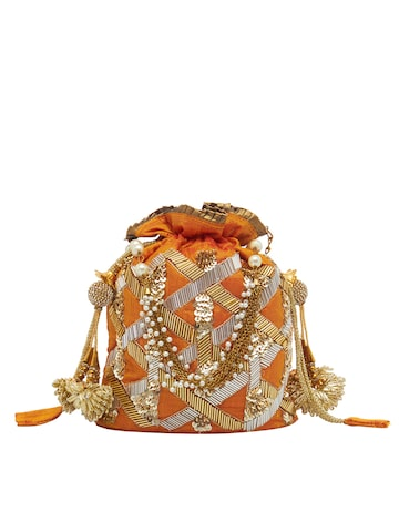 Tarusa Mustard Embroidered Clutch Tarusa Clutches at myntra