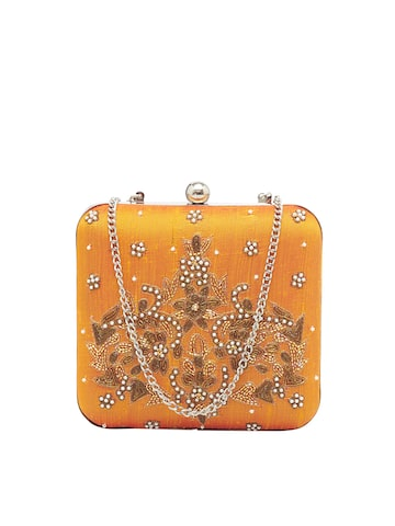 Tarusa Mustard Embellished Clutch Tarusa Clutches at myntra