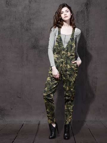 Roadster Women Olive Green Camouflage Print Dungarees Roadster Dungarees at myntra