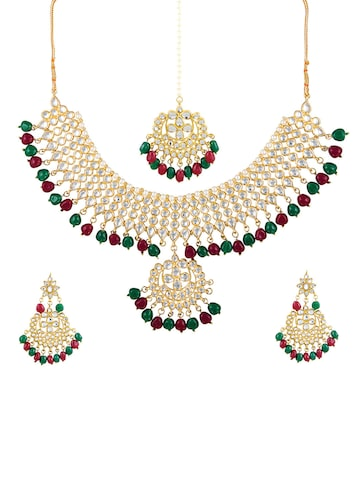 Sia Art Jewellery Gold-Toned Kundan Stone Studded Jewellery Set Sia Art Jewellery Jewellery Set at myntra