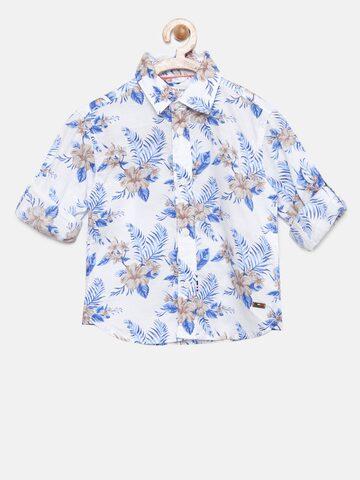 U.S. Polo Assn. Kids Boys White & Blue Regular Fit Printed Casual Shirt U.S. Polo Assn. Kids Shirts at myntra