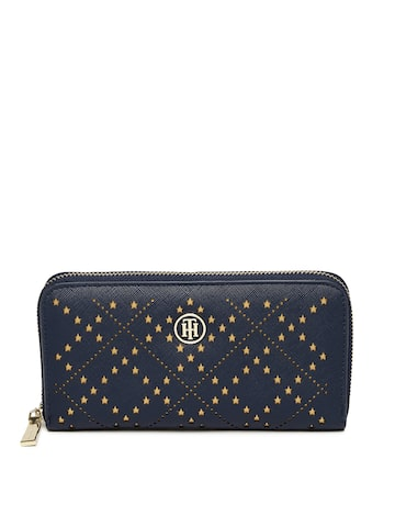 Tommy Hilfiger Women Navy Blue Textured Zip Around Wallet Tommy Hilfiger Wallets at myntra