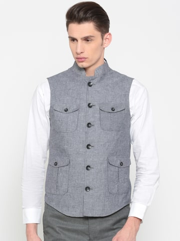 Peter England Blue Solid Italian Fit Nehru Jacket Peter England Waistcoat at myntra